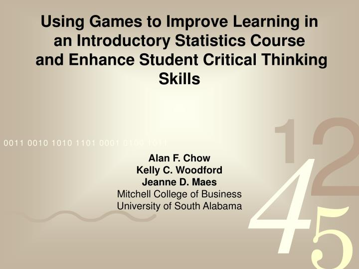 Using Games to Improve Learning in an Introductory Statistics Course