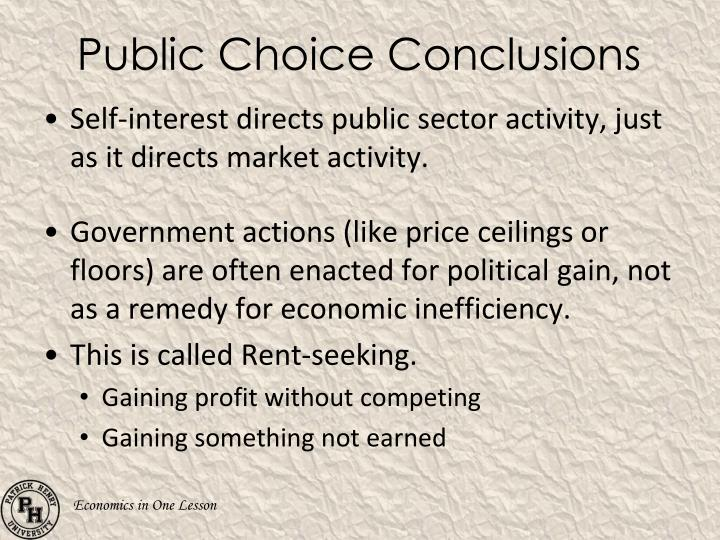 Public Choice Conclusions