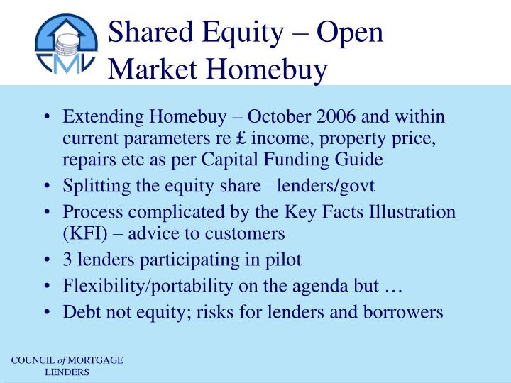 Shared Equity – Open Market Homebuy