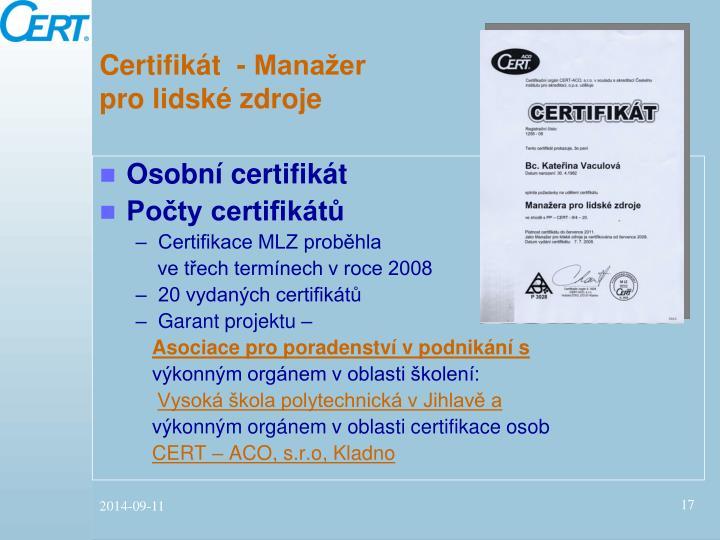 Certifikát  - Manažer