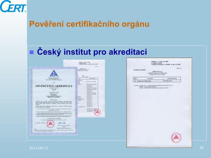 Pověření certifikačního orgánu