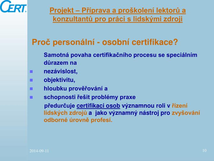 Projekt – Příprava a proškolení lektorů a konzultantů pro práci s lidskými zdroji