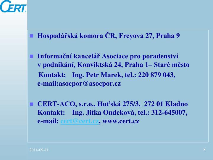 Hospodářská komora ČR, Freyova 27, Praha 9