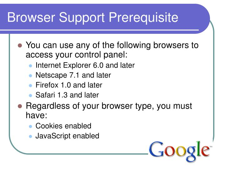 Browser Support Prerequisite
