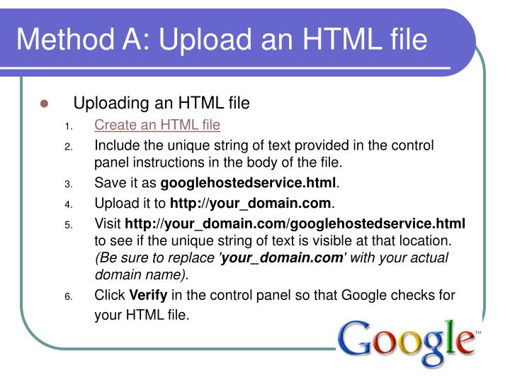 Method A: Upload an HTML file