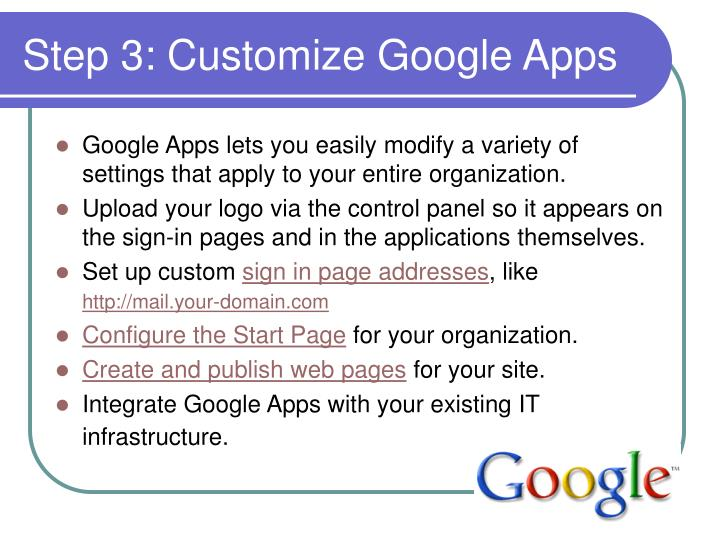 Step 3: Customize Google Apps