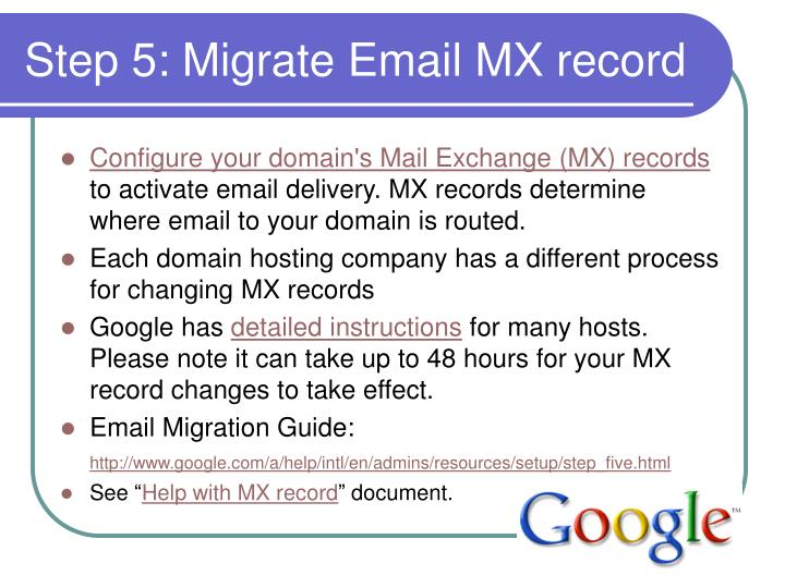 Step 5: Migrate Email MX record