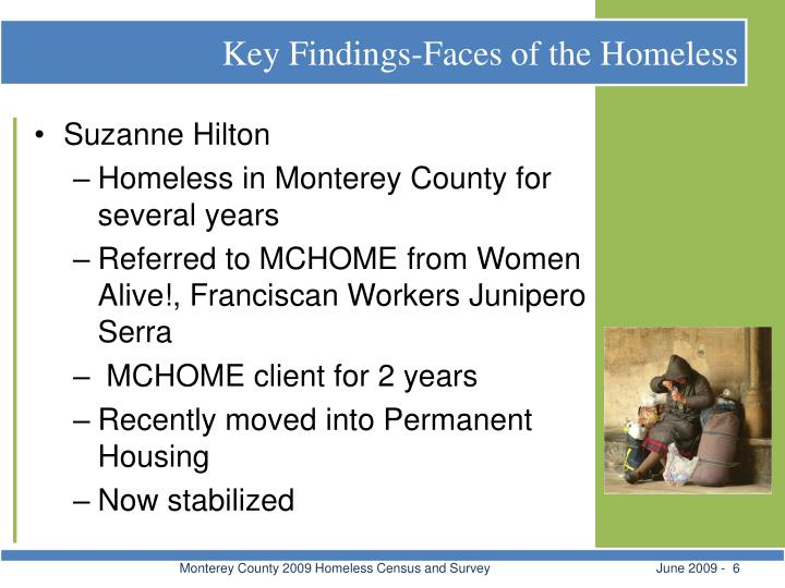 Key Findings-Faces of the Homeless