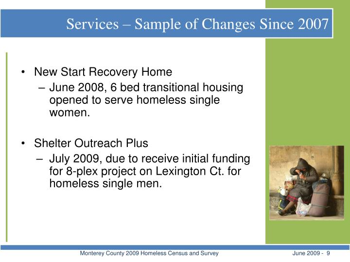 Services – Sample of Changes Since 2007