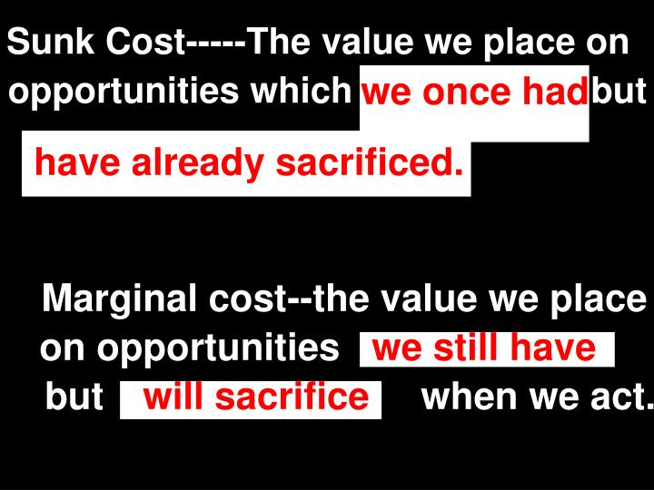 Sunk Cost-----The value we place on