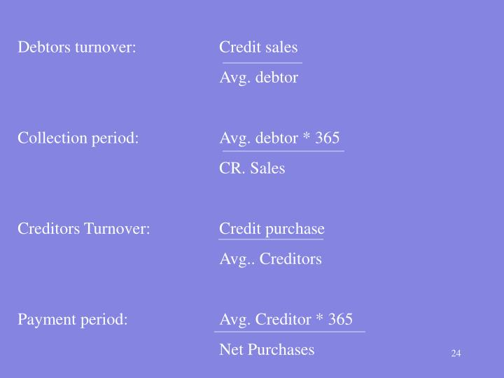 Debtors turnover:Credit sales