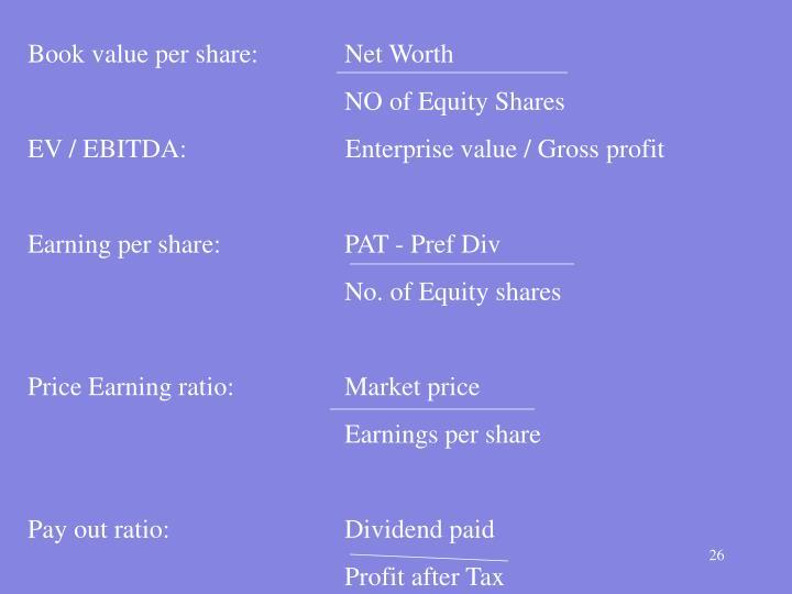 Book value per share:   Net Worth