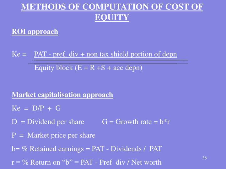 METHODS OF COMPUTATION OF COST OF EQUITY