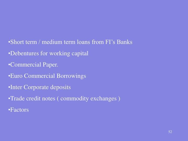 Short term / medium term loans from FI's Banks