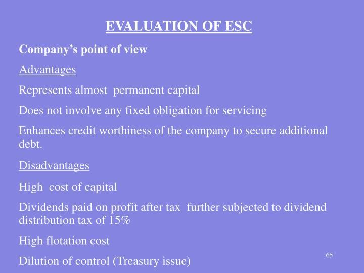 EVALUATION OF ESC