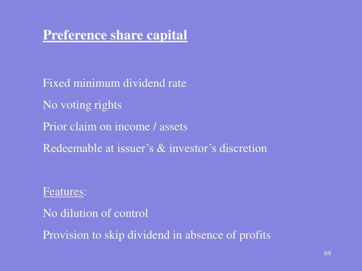 Preference share capital