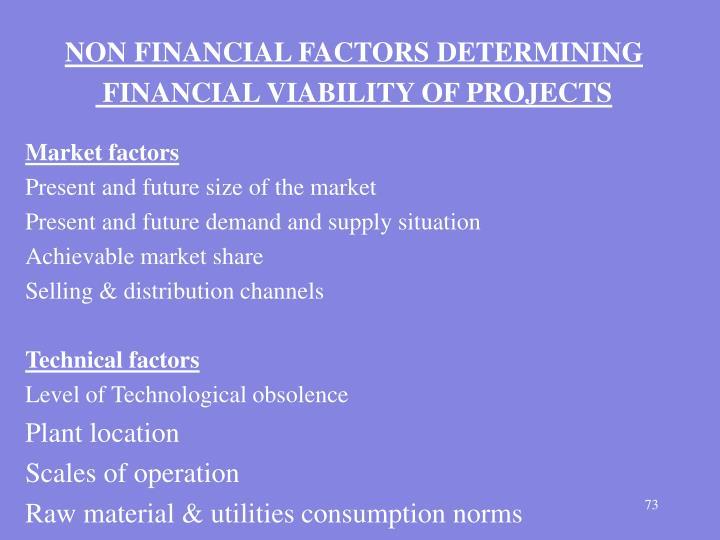 NON FINANCIAL FACTORS DETERMINING