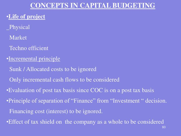 CONCEPTS IN CAPITAL BUDGETING