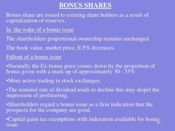 BONUS SHARES