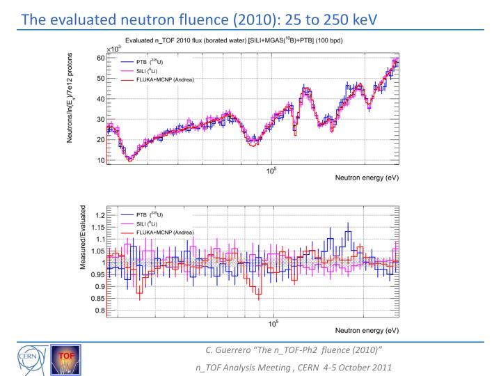 The evaluated neutron fluence (2010): 25 to 250