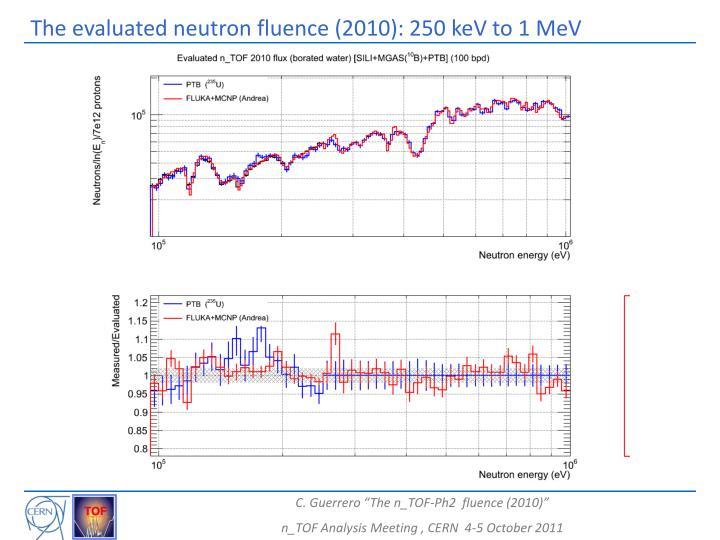 The evaluated neutron fluence (2010): 250