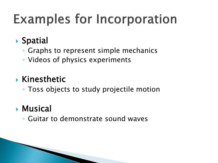 Examples for Incorporation