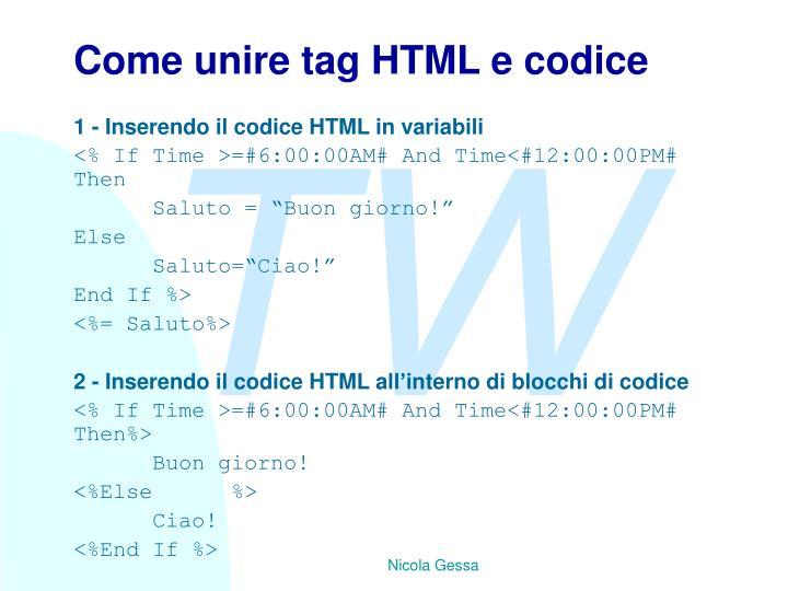 Come unire tag HTML e codice
