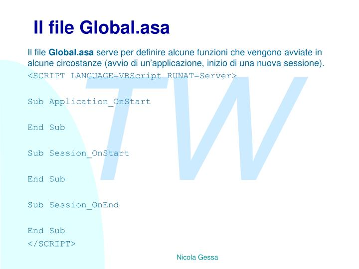 Il file Global.asa