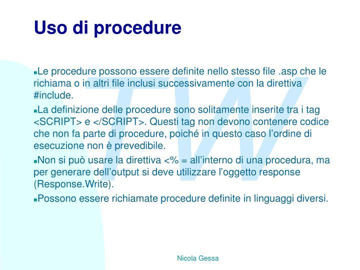 Uso di procedure