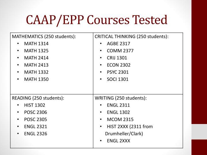 CAAP/EPP Courses Tested