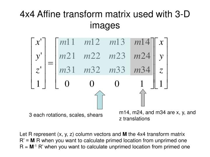4x4 Affine transform matrix used with 3-D images