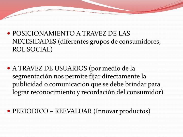 POSICIONAMIENTO A TRAVEZ DE LAS NECESIDADES (diferentes grupos de consumidores, ROL SOCIAL)