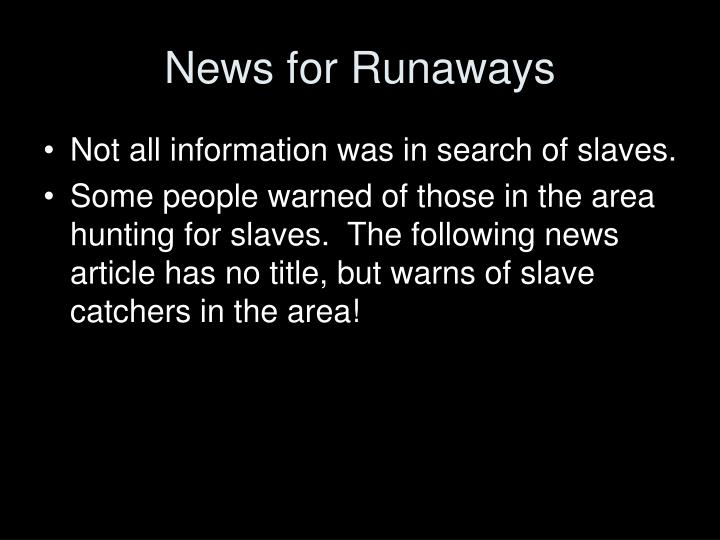 News for Runaways