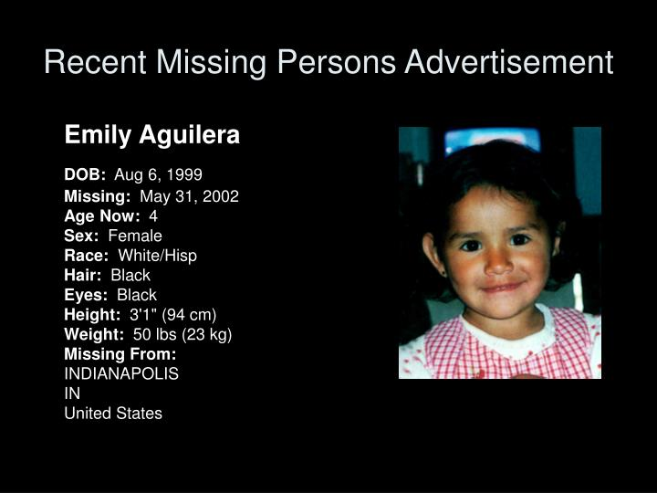 Recent Missing Persons Advertisement