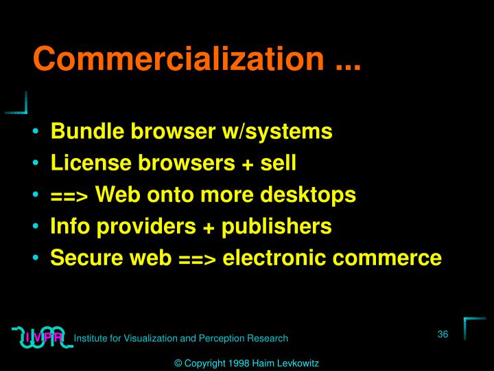 Commercialization ...