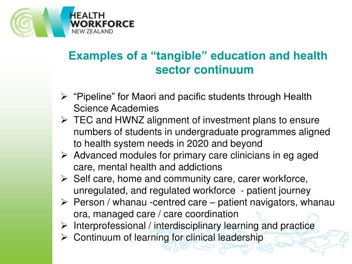 """Examples of a """"tangible"""" education and health sector continuum"""