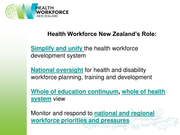 Health Workforce New Zealand's Role: