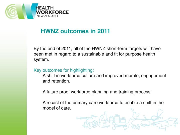 HWNZ outcomes in 2011