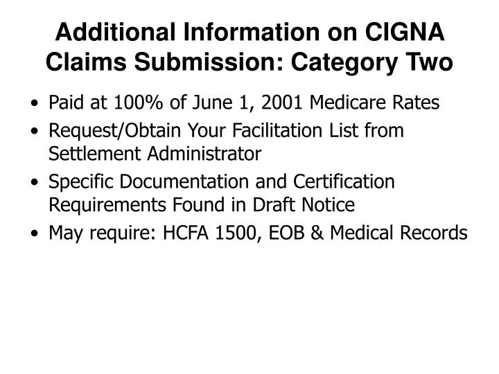 Additional Information on CIGNA Claims Submission: Category Two