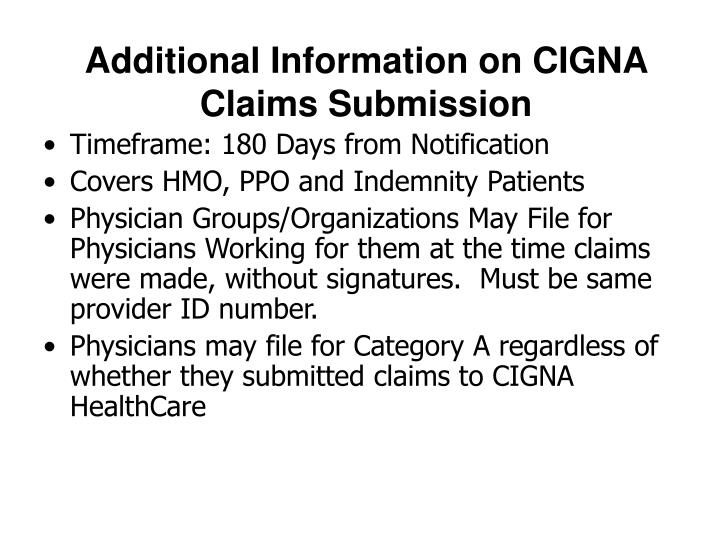 Additional information on cigna claims submission