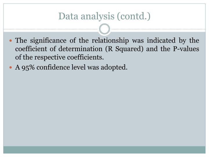 Data analysis (contd.)