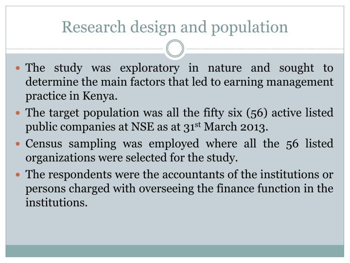 Research design and population