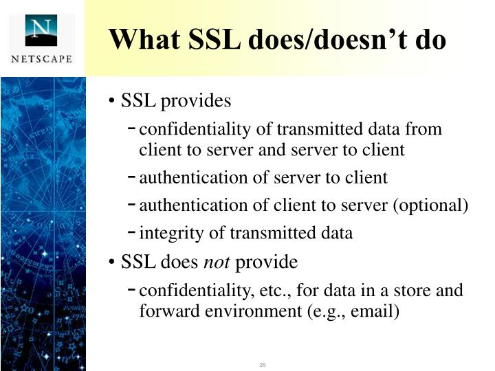What SSL does/doesn't do
