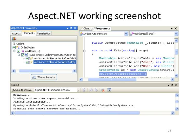 Aspect.NET working screenshot