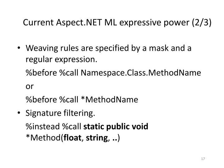 Current Aspect.NET ML expressive power (2/3)