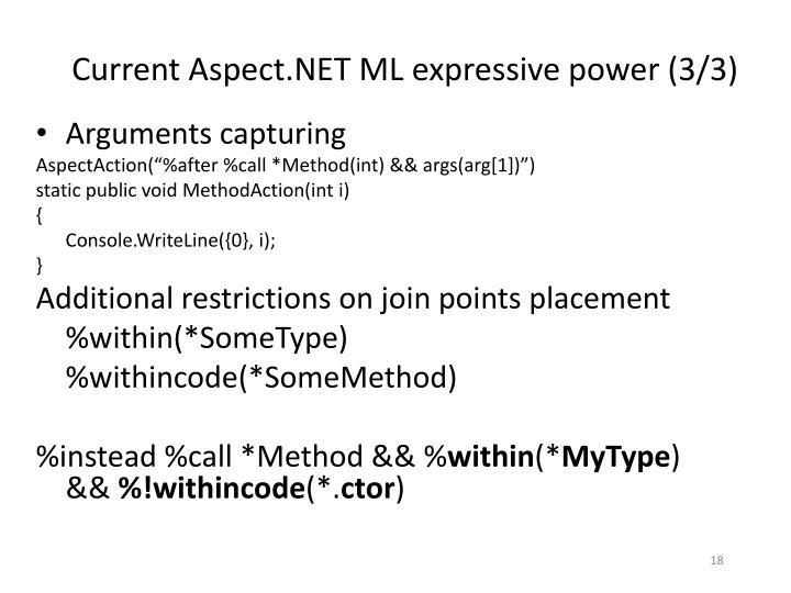 Current Aspect.NET ML expressive power (3/3)