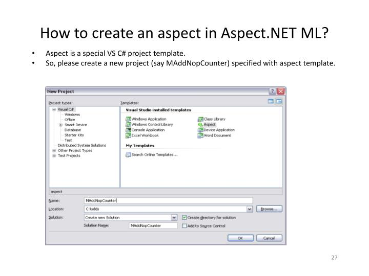 How to create an aspect in Aspect.NET ML?