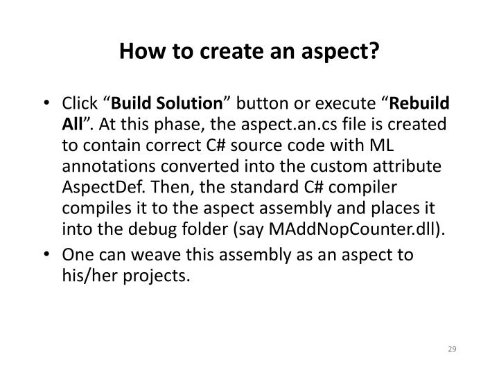 How to create an aspect?