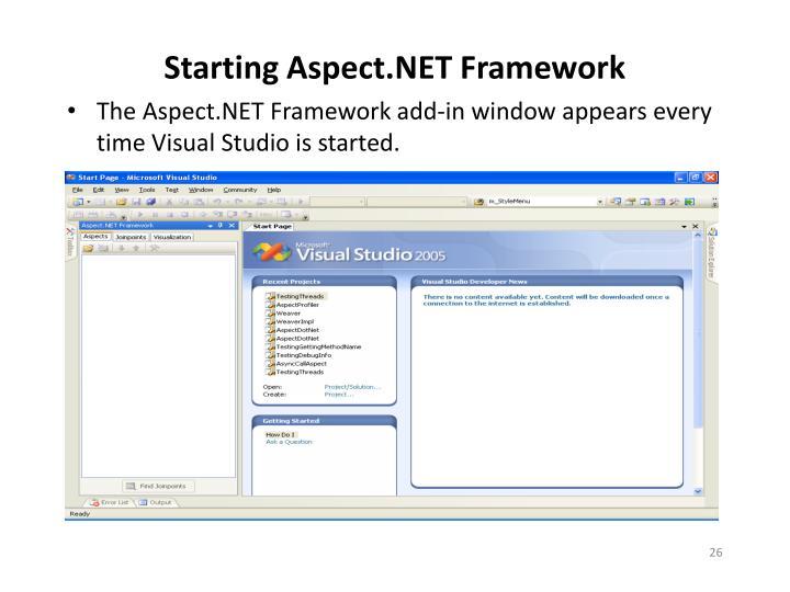 Starting Aspect.NET Framework