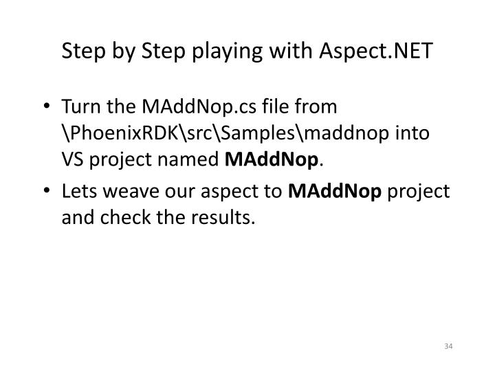 Step by Step playing with Aspect.NET